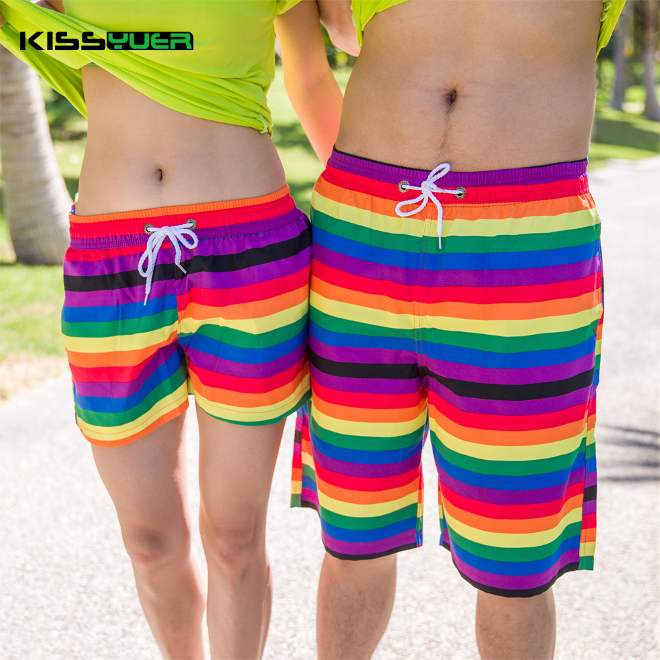 KISSyuer Quick dry Colorful rainbow stripe drawing painting Ladies shorts for beach surfing Couple Women beach shorts KBS1204(China (Mainland))