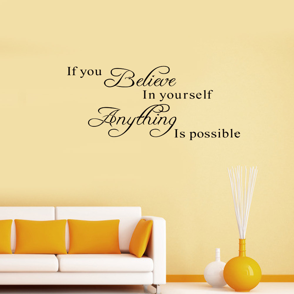 Brand New Believe Yourself Motivating Quote Maxim Decoration Inspirational DIY Art Wall Sticker Mural Decals Home Removable