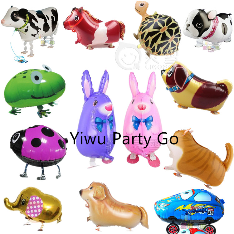 10pcs High Quality! Cute Cartoon Walking Animal Pets Foil Balloons Animal Airwalker Helium Globos Birthday Party Decor Kid Gifts(China (Mainland))
