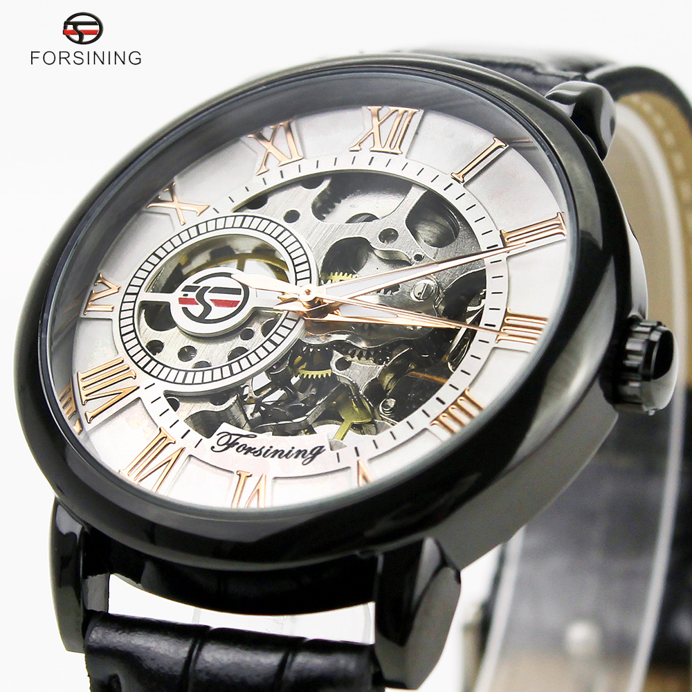 Forsining Brand Full Black Golden Case Roman Number White Dial Display Watches Fashion Male Luxury Business Casual Reloj Hombre