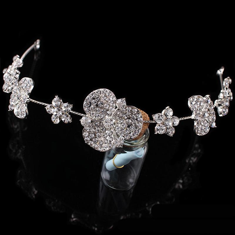 bride hair accessories soft bendable crystal rhinestone flower wedding hair jewelry fashion head chain(China (Mainland))