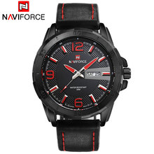 NAVIFORCE 2016 New quartz watches men luxury brand Sports  casual business 3ATM watches red black brown leather wristwatches