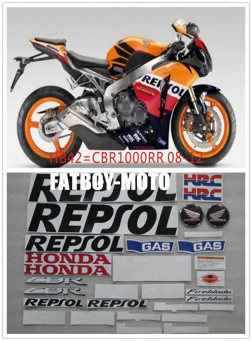 Bike motorcycle 2008 2009 2010 2011 2012 CBR1000RR CBR1000 RR REPSOL decal sticker with 3D stereoscopic paste(China (Mainland))