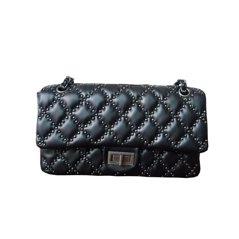 New Designer lady pre-fall rivet chain bag CF Quilted woman flap bag Oblique crossbody bag 4 colours 27cm L(China (Mainland))