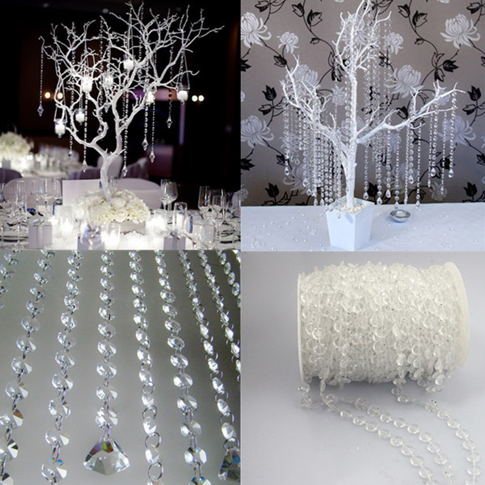 ASLT New 33FT Garland Diamond Acrylic Crystal Bead Curtain Wedding DIY Party Decor Home Living Room Bedroom Decoration NVIE(China (Mainland))