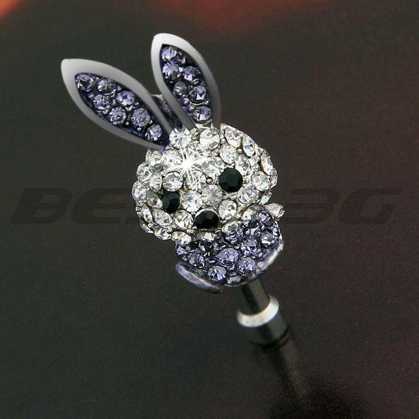 3.5mm Metal Rhinestone Rabbit Dustproof Anti Dust Earphone Ear Jack Cap Plug(China (Mainland))