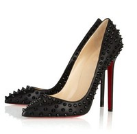 Free shipping,2013 new pumps,Pointed toe high heels,  European ultra high heels,Rivet pumps shoes,PU single shoes size 35-40