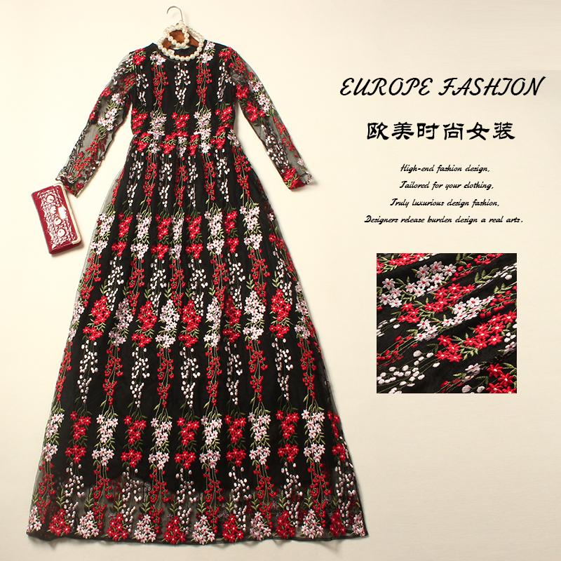 Здесь можно купить  Vintage Dress Women 2016 Spring Autumn New Fashion Brand Floor-Length Floral Embroidery Mesh Luxury Black / White Runway Dress  Одежда и аксессуары