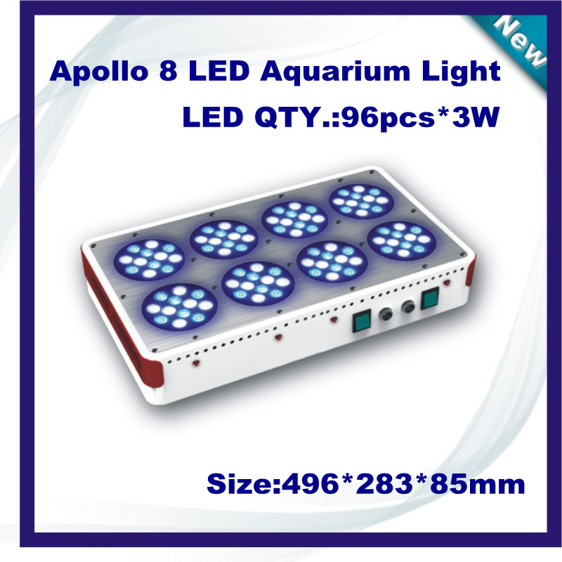 Freeshipping Apollo 8 96*3W LED Aquarium Light fish marine coal reef aquarium led lighting(China (Mainland))