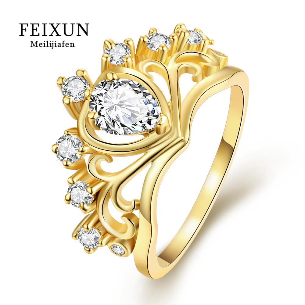 Voor Vrouwen Ring Crown Rings For Girls Ringen Antiek Goud Zilver Gold Plated Women Fashion Jewelry White Plated Zircon RingR231(China (Mainland))