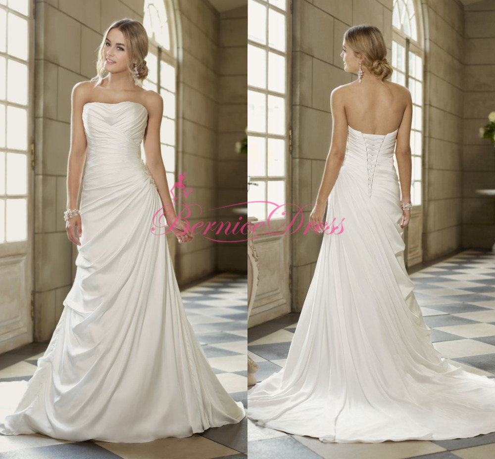 2014 simple court train white chiffon and satin ruched for Simple courthouse wedding dress