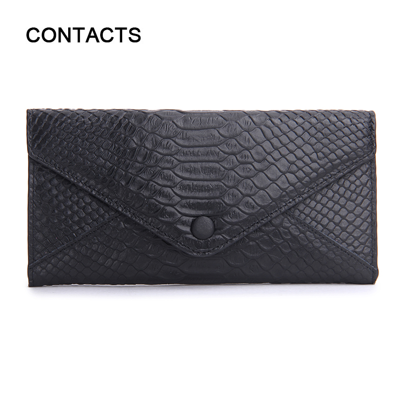 Genuine Leather Envelope Wallet Women Luxury Brand SnakeSkin Leather Embossed Wallets Womens Wallets Lady Carteras Bag Purses(China (Mainland))