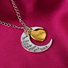 Promotion I Love You To The Moon And Back Silver Necklace Vintage Family Necklaces Pendants Fashion