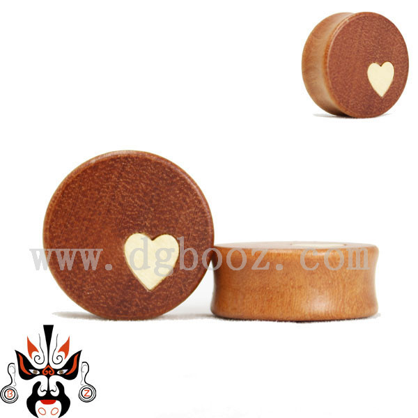 fashion body jewelry wood ear plugs tunnels piercing gauges heart design sell by pair 12-30mm(China (Mainland))