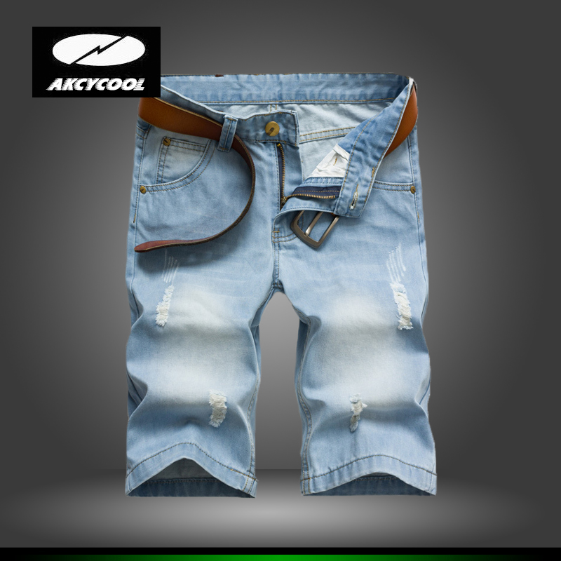 High Quality 2016 Men Short Jeans Men's Hole Shorts Men's Short Pants Knee Length Jeans Knee Length Ripped Straight Jean for Men(China (Mainland))