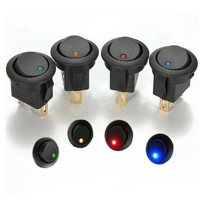 New 5x 12V LED Dot Light Car Boat Round Rocker ON OFF SPST Switch 4 Colors