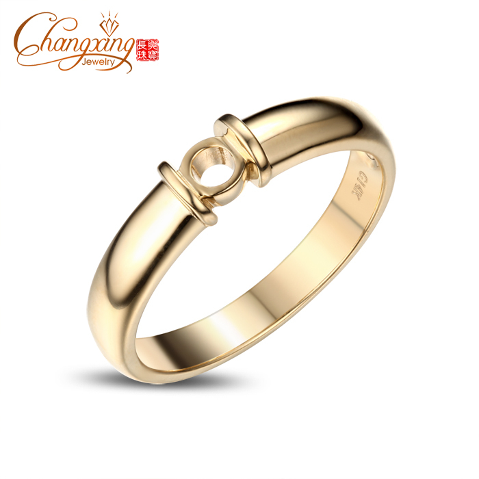5.5mm Round Cut Unplated 14k Yellow Gold Engagement Wedding Semi Mount Ring<br><br>Aliexpress