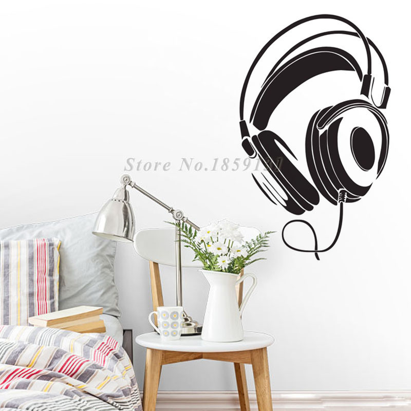 Music DJ Headphones Wall Stickers Boys Room Wall Decor Vinyl Decals 2015 Fashion Design Home Decoration(China (Mainland))