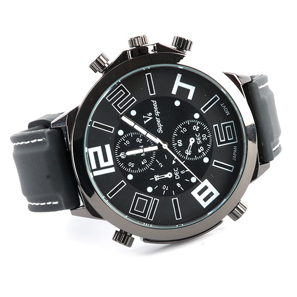 New Men Big Dial V6 Super Speed Watches Silicone Band Sport Quartz Wrist Watch