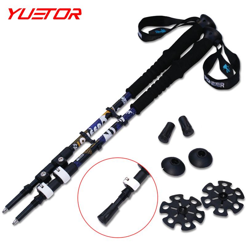 Brand YUETOR 2pcs/lot speed lock aluminum 7075 outdoor walking trekking high quality climbing stick hiking trekking pole(China (Mainland))