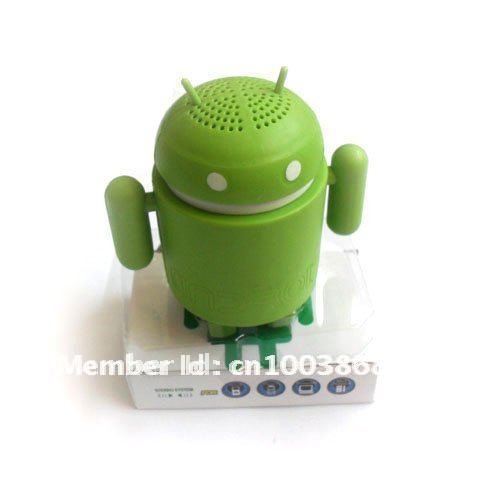 Free shipping !google Android Robot mini speaker for MP3 mp4 laptop Ipod