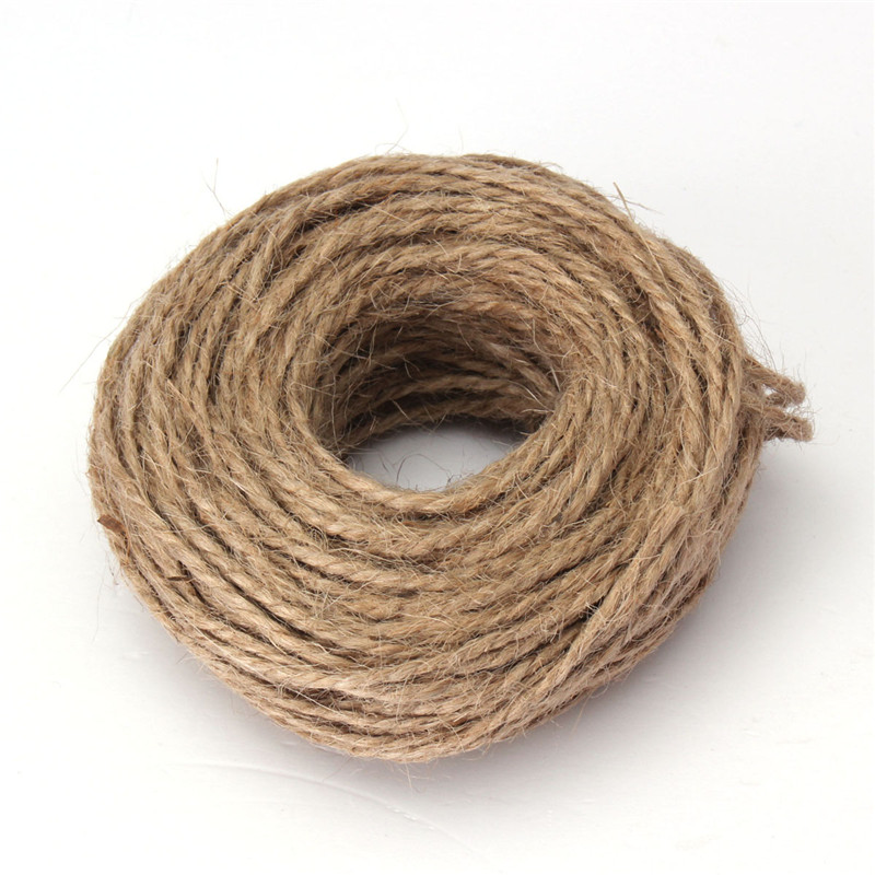 Modern 30M 2 Ply DIY Natural Brown Jute Hemp Twine String Linen Cord Shank Craft Making Ideal for weddings card making(China (Mainland))