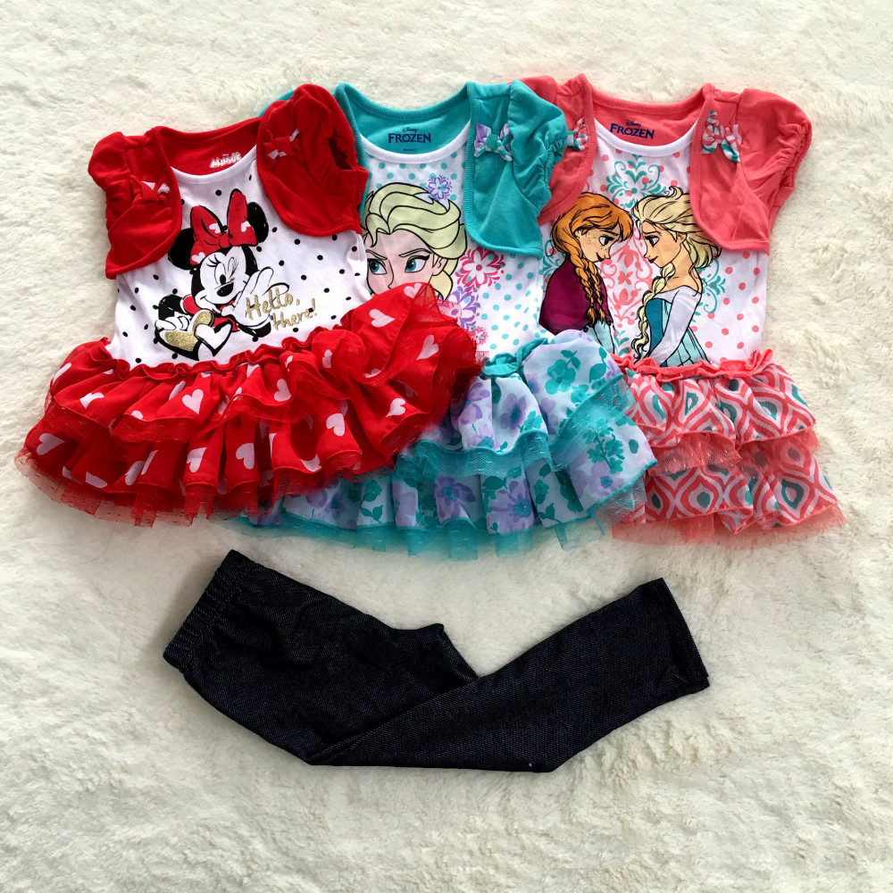 Original Brand girls clothing set,anna and elsa dress and leggings set,Baby Girl's Clothes Set,Minnie mouse DRESS and pants sets