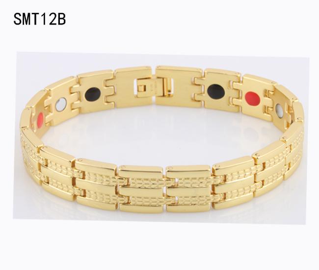 New 2015 women's gold jewelry energy magnetic power bracelet balance for men Stainless Steel charm man Bracelets bangles SMT12B(China (Mainland))