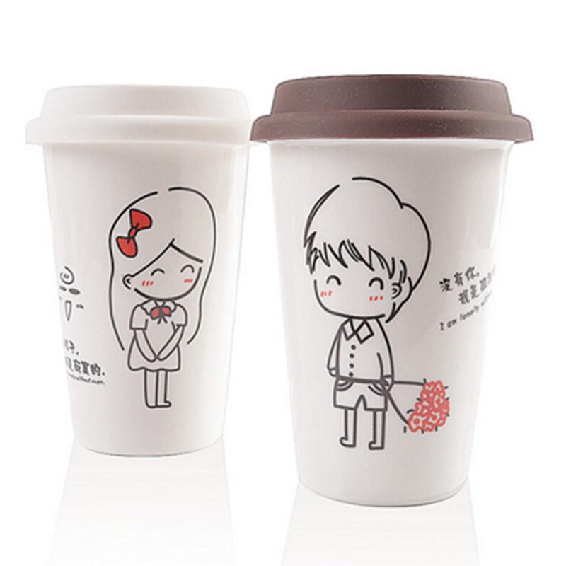 Creative Ceramic Mug Cup With Lid Brief Beauty Girl Boy