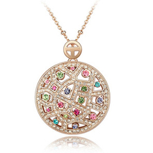 Genuine Gold Plated Cz Rhinestone Necklace Jewelry for Women(China (Mainland))