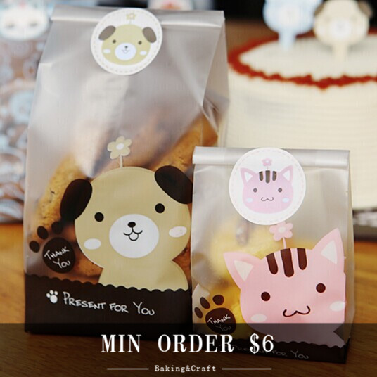 """Min order $6 Free shipping cute dog bakery food packaging bags for candy cookie biscuit gift soap 8.8""""*3.4""""*5.3"""" 30pcs/lot(China (Mainland))"""