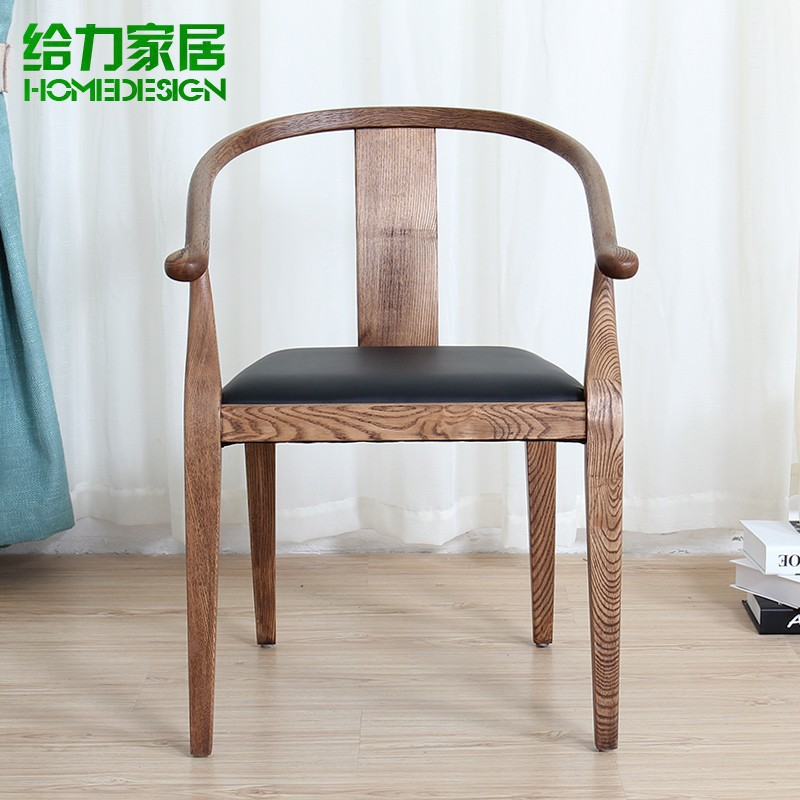 antique finish solid wood chair modern ikea round backed armchair chinese style leisure chair. Black Bedroom Furniture Sets. Home Design Ideas