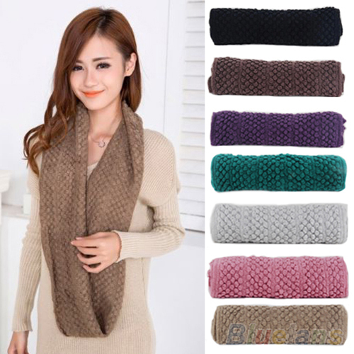 Women Girl Winter Warm Infinity Wrap 2 Circle Shawl Cable Knit Cowl Neck Long Scarf 2K6I(China (Mainland))