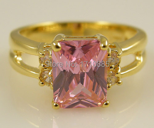 Fashion Women's Natural 2.36CT pink Sapphire CZ Diamond Zircon Ladies' 14K Yellow Gold Plated Ring Size P 8 High Quality(China (Mainland))