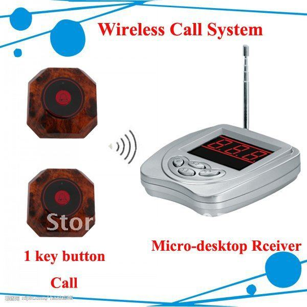 Hot sell restaurant wireless table bell system For Restaurant,Teahouse,Bar Consist of 6 pcs one-Key Call Buttons +1pcs Receiver