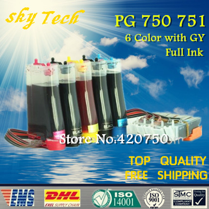 6 Color Full CISS for PGI750 CLI751 , suit for Canon  MG6370  MG7170  iP8770 , With ARC chips , Full Ink