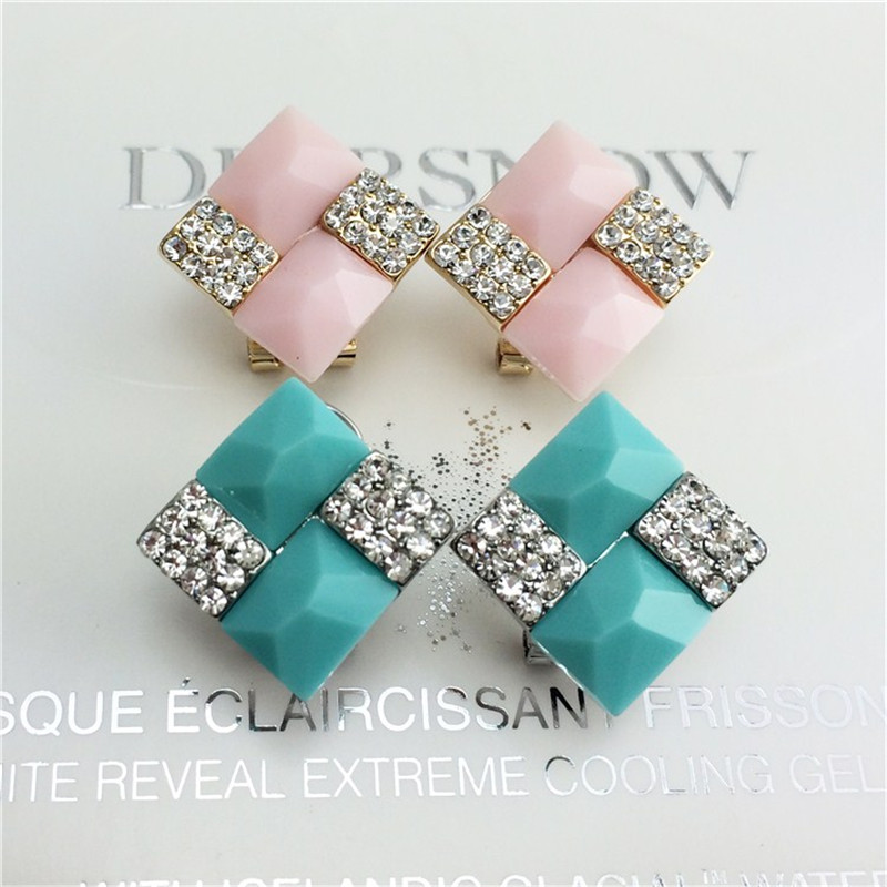 1 Pair Green/Pink Elegant Lady Party Charms Stud Earrings Square Channel Stud Earrings Free Drop Ship Jewelry Supplier(China (Mainland))