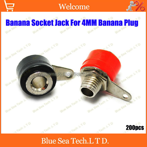 NEW 200pcs x 4mm Black And Red Banana Speaker socket Connector Set for 4mm banana plug with Nut and washers  Free Shipping<br><br>Aliexpress