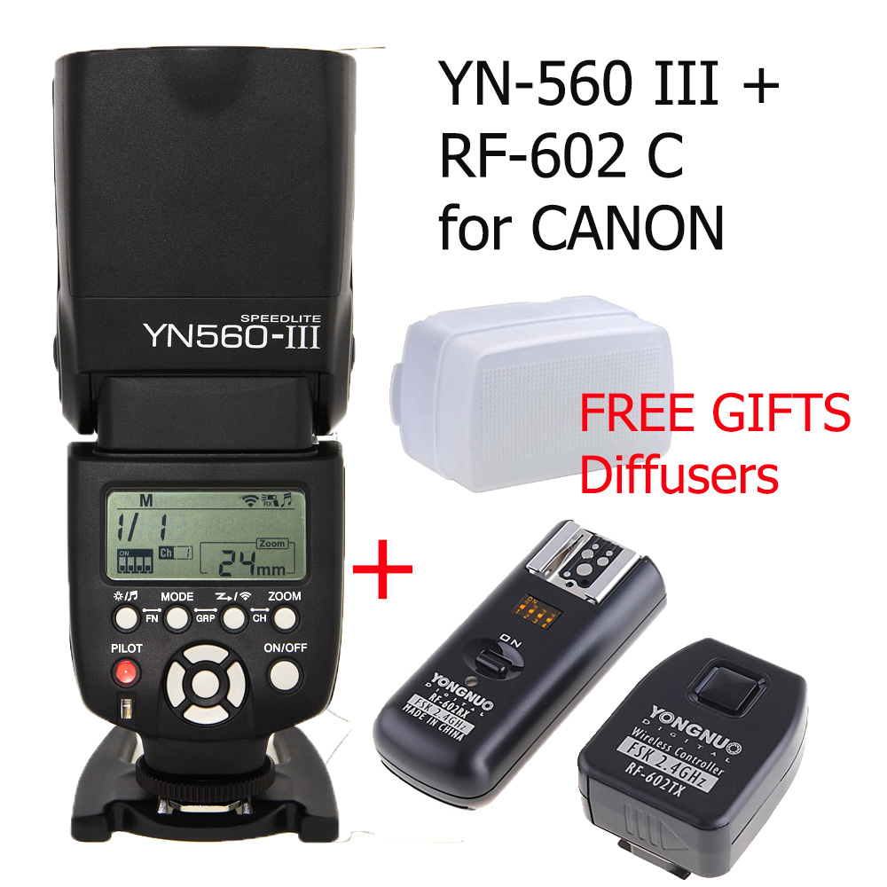 Yongnuo YN560 III YN-560 III Wireless Master Slave Flash Speedlight +RF-602 Wireless Remote Flash Synchronized Trigger for Canon<br><br>Aliexpress