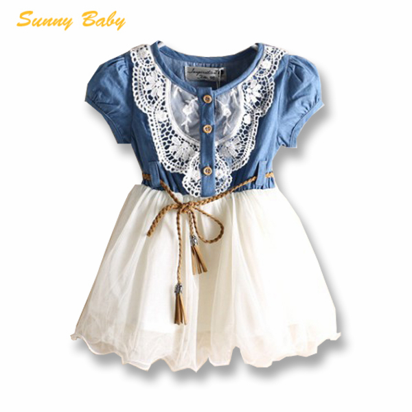2015 new girl dress high quality denim dress fashion baby girls clothes cotton children's clothing 2-6Y dresses girls D288(China (Mainland))