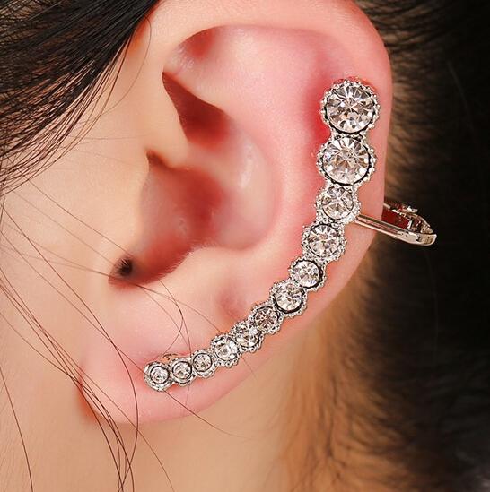 1 pcs Fashion Pendientes Elegant round gem Clip Earrings for left ear Women Punk Wrap Ear Cuff Earring Jewelry Brincos 038(China (Mainland))