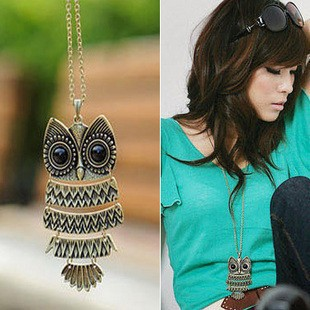 Korean Style Vintage Owls Pendants Necklaces, Women Ancient Ways Bronze Owl Long Chain Necklace Sweater Chain Fashion Jewelry(China (Mainland))