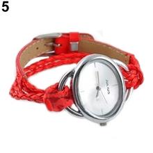 2015 New Lady White Bracelet Charm Leather Watches Weave Quartz Movement Wrist Watch