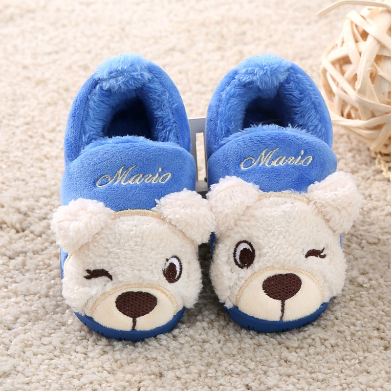 Christmas Winter Childen Thickening Slippers Plus Velvet Thermal Shoes Kids Cute Cartoon Panda Cotton-Padded X65 - Xinxin Baby store