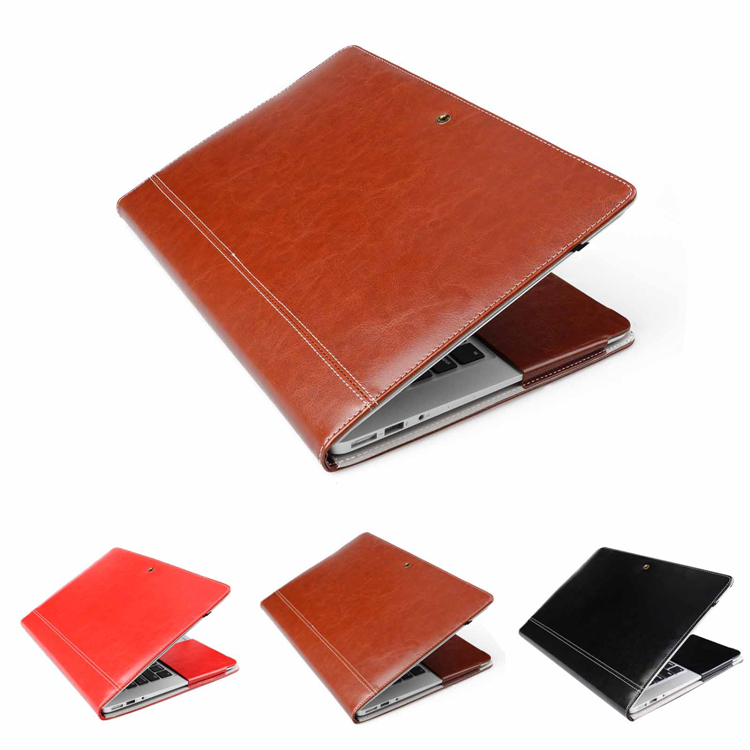 business style PU Leather Stand Cover Case For MacBook Air Pro Retina 13 inch Laptop Sleeve Luxury Leisure brown black red Bag(China (Mainland))