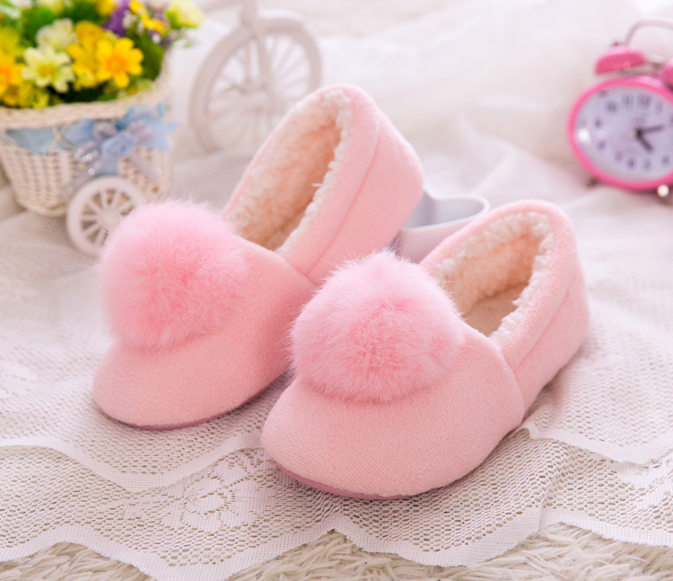 High Quality Winter Thick Bottom Home Slippers Non-slip Floor Solid Flock Soft Ball Women Slippers Female Home Shoes Shoes Flats