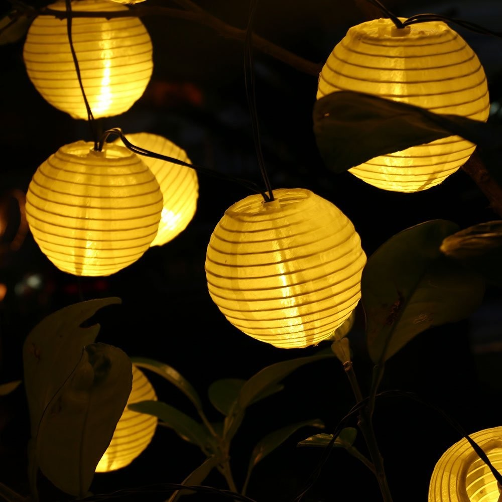 6M 30 LED Outdoor Lantern Ball Solar String Lights Fairy Globe Christmas Lights Decorative Lights for Party Holiday Decorations
