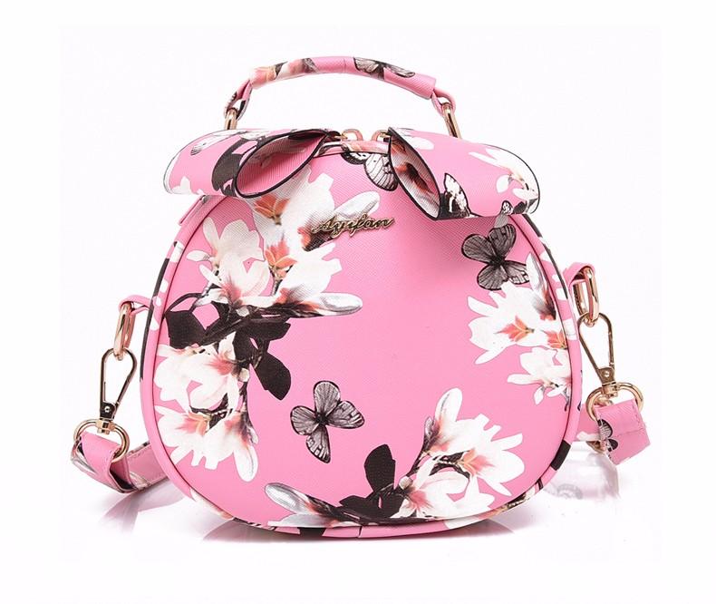 Floral Printing Small Round Bag Women Korean Style Cute Hand Bag Ladies Fashion Hand-held Shoulder Bag Circular PU Crossbody Bag