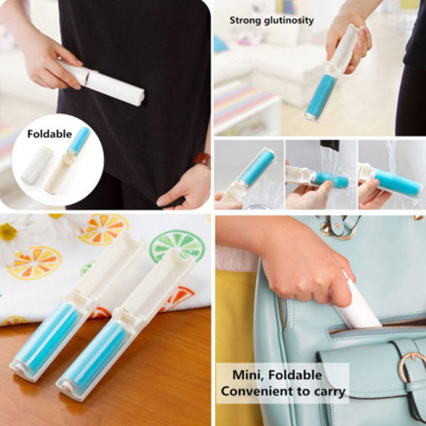 Washable Lint Dust Hair Remover Cloth Sticky Roller Brush Cleaner Folding(China (Mainland))
