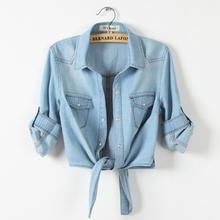 All-match denim shirt female sweep tieclasps lacing denim outerwear cardigan short design for women blouse Free shipping(China (Mainland))